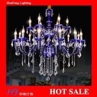 blue Crystal large  chandelier 12+6 lights lamps  chandeliers lamps crystal chandelier bar hotel  lustre lamp led lamp
