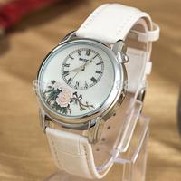 New Fashion Women Wristwatch With Rhododendron Magpie Dial leather Straps Quartz Women Dress Watch QZ4066