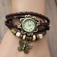 2014 New Fashion High Quality Women Genuine Leather Vintage Quartz Dress Watch Bracelet Wristwatches Butterfly