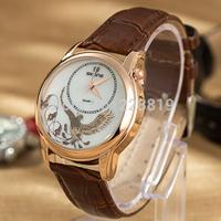 Unique Women Dress Watch Phoenix Dial leather Straps Quartz Watch Fashion Women Wristwatch QZ4065
