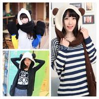 3 in 1 Women Girls Ladies Winter Warm Plush Panda Hat Hooded Scarf Scarves Hat Gloves free shipping