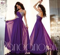 Free Shipping Purple A-line Beaded Sweetheart Sleeveless Long Chiffon Evening Dress Prom Gown NSD-0065