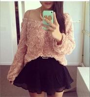 blusas femininas 2014 roupas femininas casual blusas women kimono clothing plus size long sleeve 3D flower shirt women  tops