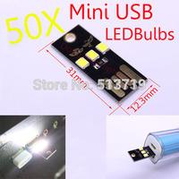 50X 5V 1W DongZhen Portable Mini USB led bulbs Touch Switch Night Light Lamp White Light for Power Bank Computer Laptop