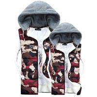 2014 autumn & winter camouflage military vest women's thick wool liner hooded vest women waistcoat,detachable hat down vest,MfL