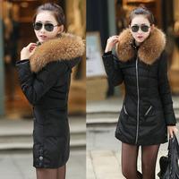 Brand Down Slim large size women raccoon Nagymaros collar down jacket ladies winter long section XXL 3XL 4XL /W721