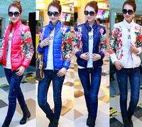 Winter Jacket Women 2014 New Fashion Women Plus Size Down Cotton Coats Short Jackets M-XXL Floral Print Thin Parkas Womens