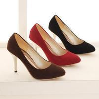 Vintage Plain Flock Pointed Toe High Heels Women Shoes Sexy Thin Heels Women Pumps Ladies Dress Party Shoes Plus Size 34-47