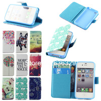 Cute Dog & Cat Leather Design Stand Wallet Card Slot and Money Slot Hard Cover Flip Case For iPhone 4 4G 4S