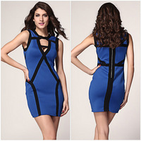 2014 Summer Star Style Sleeveless Sexy Dress Women Casual Clothes Patchwork Blue Balck Elegant Party Dresses
