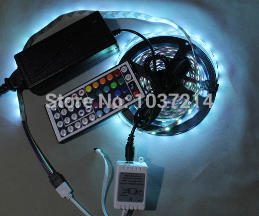 Hight light LED Strip, LED lamp No-waterproof, 5M SMD5050, 60LED /m; 44keys IR control adaptor 12V 5A free ship(China (Mainland))