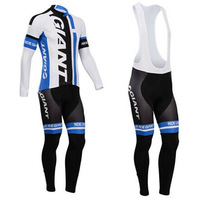 2014 Giant Long Sleeve Cycling Jersey Bike Jersey + Cycling Bib Tight Suit Men's Cycling Clothing - Men's Size:S-3XL