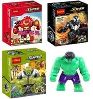 4Pcs Building Blocks Super Heroes Avengers Action figures Minifigures Hulk Buster Venom Green Goblin Hulk Compatible With Lego