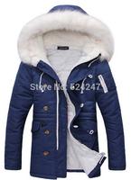2014 Men'S Winter Jacket Brand Coat Thick Plus Velvet Fur Collar Hooded Down Cotton Padded For Men Casual Jackets XG50-209