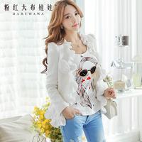 Dabuwawa Brand Women's 2014 Autumn And Winter Fashion New Korean Version Of White Flowers Mosaic Slim Woolen Coat Flounced