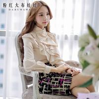 Dabuwawa Brand Women's 2014 Autumn  Fashion New Korean Nude Color Irregular Edges Slim Korean Long-Sleeved Shirt Blouse