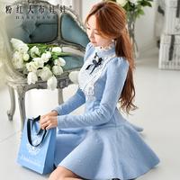 Dabuwawa Brand Women's 2014 Autumn And Winter Fashion New Korean Three-Dimensional Flowers Inlaid Blue Long-Sleeved Dress Slim