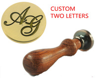 New Custom Made Two Letters 7 Designs Option Vintage Retro Alphabet Initial Wax Seal Stamp Kit Set Lover Wedding Label