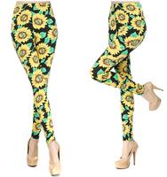 New Arrive Fashion Leggings Print Women Sunflower Print Sexy Printed Leggings Pants Jeggings UY1643