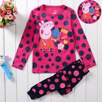 2014 New Arrival Girls Peppa pig Pajamas Sets Baby Cartoon Pyjamas Pijama Kids Printed Sleepwears Home Clothing Free Shipping