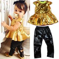Children girls kids Clothing clothes Sets suits 2 pcs short sleeve Golden horn unlined upper garment of leisure suit party