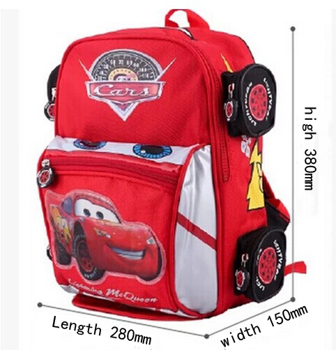 Free shipping hot sale 2014 cars lightening toys double-shoulder children backpack school bag suit for 5-13years old(China (Mainland))