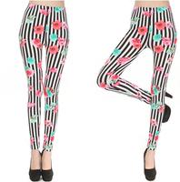 Fashion Leggins Womens Sports legging Womens Stripes Roses Print Pencil Sexy Leggings Pants UY9826