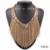 2014 new arrival fashion choker bib collar metal chain tassel pendant chunky luxury statement necklace jewelry for women