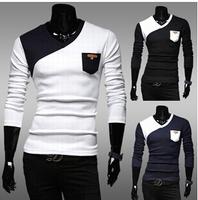 Drop Shipping Plus Size Men's T Shirt Fashion 2014 Autumn Winter Casual Slim Long-Sleeve Brand New Clothing Camisetas