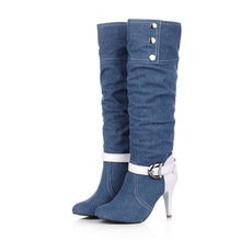 Fashion Sexy Suede Leather Denim Metal decoration Buckle knee high Autumn women boots high thin heels,woman Round toe shoes bota(China (Mainland))