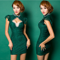 Chinese style vintage lace sexy club hollow out short-sleeve beading stand collar improved slim cheongsam dresses  nightclubs