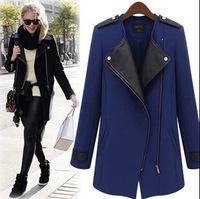 2014  Winter European Plus Size Woolen Coat  Long Blends Overcoat Outerwear 5XL  4XL 3XL 2XL Free Shipping