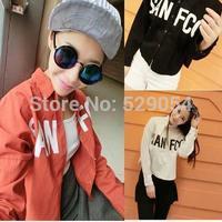autumn new style cowboy shirt women's clothing korean letter long sleeve loose shortage style student coat C44 free shipping