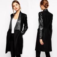 freeshipping Black Wool coat women winter leather long womens wool coats and jackets