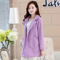 2014 new winter multicolor Double-sided Korean style slim middle & long section Lapel Woolen coat  Windbreaker jacket for women