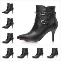 Size:35-41 Women's 2014 Newest Black Genuine Leather Spikes Pointed Toe Ankle Boots,Ladies Luxury Brand High Heels Fashion Shoes