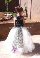 fashion real designer christmas krikor-jabotian vestido de festa black and white lace flower girls dress for weddings RTT-0454