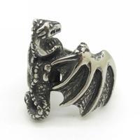 Vitnage Style Men's Boy's Biker 316L Stainless Steel Retro Gothic Black Dinosaur Dragon Ring Men Gift