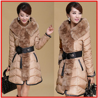 2014 New Arrival Women winter coat Fashion Faux Fur Hooded Long Style Warm Lady Down Coat with Belt women down jacket