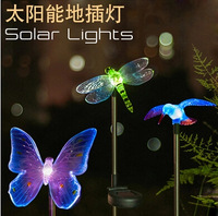 High quality Solar Butterfly dragonfly kingfisher lightsCreative LED lawn color landscape  outdoor decoration street light