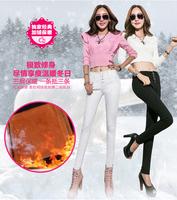 2014 brand new women thick warm denim pencil pants slim high waist skinny jeans real photo black beige