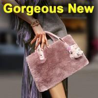 Korean Style new winter bag leather rabbit fur handbag lady shoulder bag