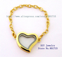 1pcs gold color heart bracelet solid zinc alloy 30mm Living Floating Charm Memory Locket as gift without floating charms
