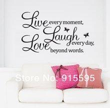 versandkostenfrei: Umsatz- Förderung live love laugh Briefe transprent wasserdicht vinyl wand zitate abziehbild/pvc wohnkultur wandsticker(China (Mainland))