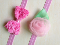 Drop ShippingRETAIL baby hair accessories lace bow Rosette headbands for girls flower hairband girls Christmas Gift