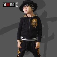Fashion Clothing Set Boys Kids Conjunto De Roupa Menino Kids Clothes Sets Crow heart Hoodie Skull Jacket & Pant Plus Size WB-30