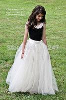 fashion real designer christmas krikor-jabotian scoop black and ivory children bride flower girls dress for weddings RTT-0463