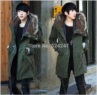 2014 Men'S Slim Fur Collar Coat Hooded Men'S Cotton Padded Thick Lamb'S Wool Jacket Long Design Coat Men'S Clothing XG-211