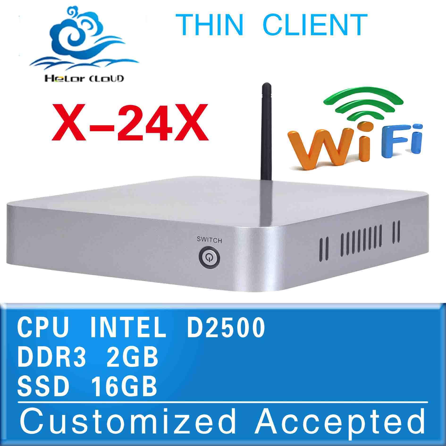 low power low heat mini computer x-24x fan mini pc D2500 network industrial pc 2g ram 16g ssd thin client build-in-wifi pc(China (Mainland))