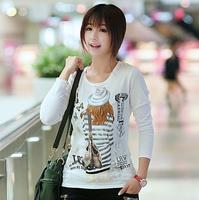 2014 Hitz female Korean wild round neck T-shirt solid color long-sleeved cotton shirt printing Slim